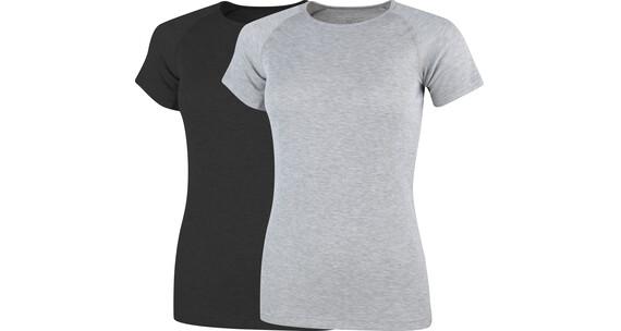 Stuf Riga-L 2er Pack T-Shirts Damen schwarz/anthrazit melange